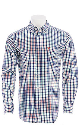 Ariat Men's Blue, Red & White Plaid Long Sleeve Western Shirt