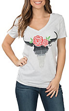 Ariat Cavender's Exclusive Women's Heather Grey Rose Steer Head V-Neck T-Shirt