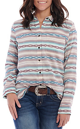 Ariat Women's Turquoise Aztec Jacquard Long Sleeve Western Shirt