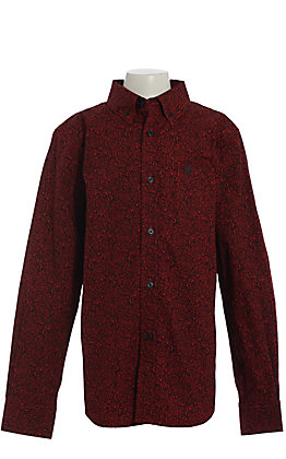 Ariat Boys' Dalanzo Red and Black Paisley Long Sleeve Western Shirt