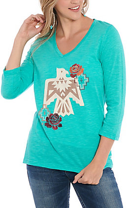 Ariat Women's Turquoise Floral Phoenix Casual Knit Top