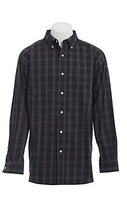 Ariat Men's Black & Grey Plaid Long Sleeve Western Shirt