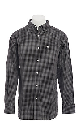 Ariat Men's Black & White Checkered Plaid Long Sleeve Western Shirt