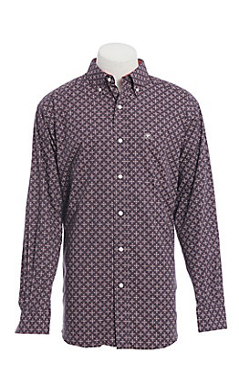 Ariat Men's Grey & Red Medallion Print Long Sleeve Western Shirt