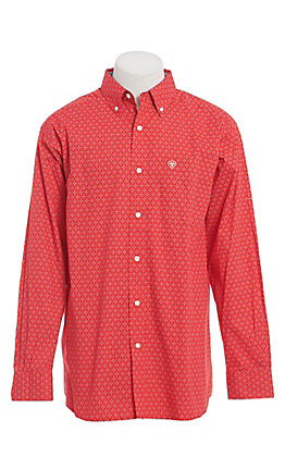 Ariat Men's Red Geo Print Long Sleeve Western Shirt