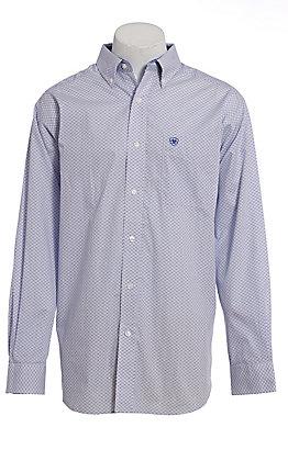 Ariat Men's White & Blue Geo Print Long Sleeve Western Shirt