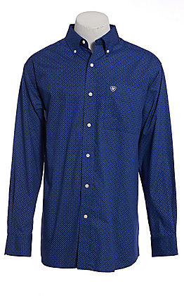 Ariat Men's Blue & White Parton Geo Print Long Sleeve Western Shirt