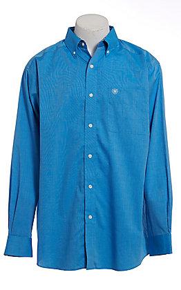 Ariat Men's Solid Blue Wrinkle Free Long Sleeve Western Shirt