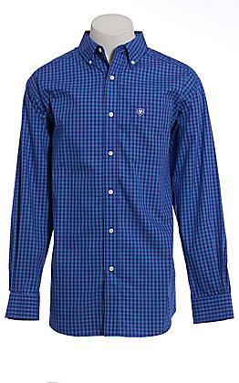 Ariat Men's Cobalt Blue Plaid Wrinkle Free Long Sleeve Western Shirt