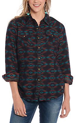 Ariat R.E.A.L. Women's Black Rustic Aztec Long Sleeve Shirt