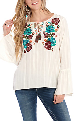 Ariat Women's White Floral Embroidered Bell Sleeve Fashion Top