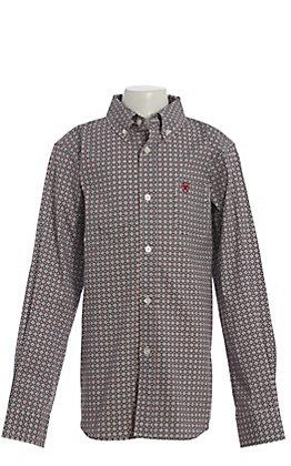 Ariat Boys Danson Circle Print Long Sleeve Western Shirt