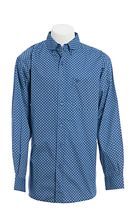Ariat Men's Blue Geo Print Long Sleeve Western Shirt