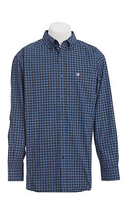 Ariat Men's Black & Blue Medallion Print Long Sleeve Western Shirt