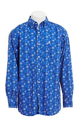 Ariat Men's Blue Aztec Print Long Sleeve Western Shirt