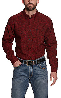 Ariat Men's Red Paisley Print Long Sleeve Western Shirt
