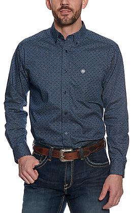 Ariat Men's Navy Blue Geo Print Long Sleeve Western Shirt
