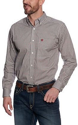 Ariat Men's White & Red Geo Print Long Sleeve Western Shirt