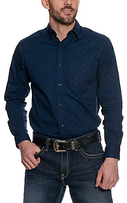 Ariat Men's Blue & Black Geo Print Long Sleeve Western Shirt