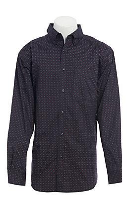 Ariat Men's Black, Red & Blue Geo Print Long Sleeve Western Shirt
