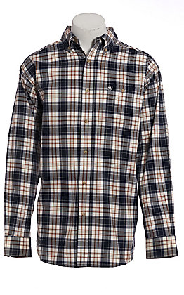 Ariat Pro Series Men's Navy, White & Brown Plaid Long Sleeve Western Shirt