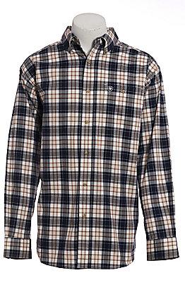 Ariat Pro Series Men's Navy, White & Brown Plaid Long Sleeve Western Shirt