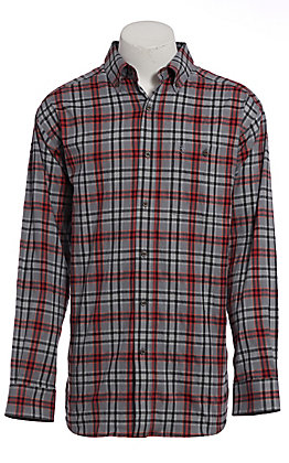 Ariat Pro Series Men's Grey & Red Plaid Long Sleeve Western Shirt
