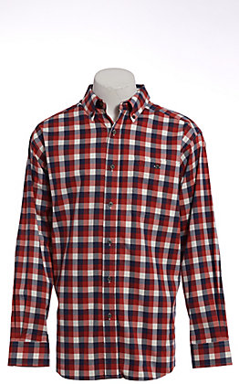 Ariat Pro Series Men's Red White & Blue Plaid Long Sleeve Western Shirt