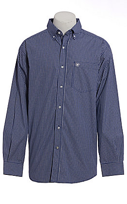 Ariat Pro Series Men's Blue & White Plaid Long Sleeve Western Shirt