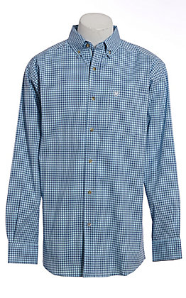 Ariat Pro Series Men's Sky Blue Plaid Long Sleeve Western Shirt