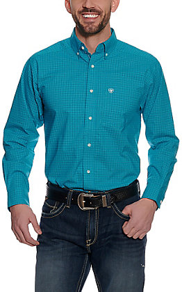 Ariat Pro Series Men's Blue Mini Checkered Plaid Long Sleeve Western Shirt - Big & Tall