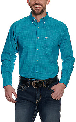 Ariat Pro Series Men's Blue Mini Checkered Plaid Long Sleeve Western Shirt