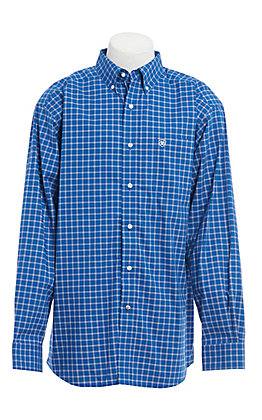 Ariat Men's Blue Plaid Long Sleeve Western Shirt