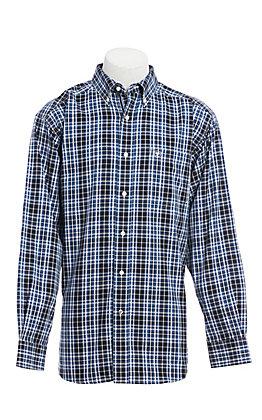 Ariat Men's Black & Blue Plaid Long Sleeve Western Shirt