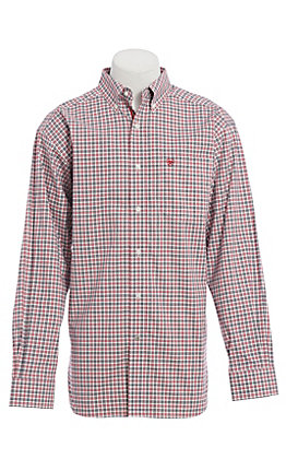 Ariat Men's Red Checkered Plaid Long Sleeve Western Shirt
