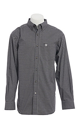 Ariat Men's Black Checkered Plaid Long Sleeve Western Shirt