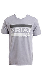 Ariat Men's Heather Grey Bar Stripe Short Sleeve T-Shirt