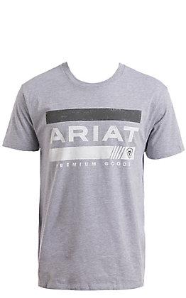 Ariat Men's Heather Grey Bar Stripe Short Sleeve T-Shirt