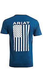 Ariat Men's Freedom Heather Grey Logo Flag Short Sleeve T-Shirt