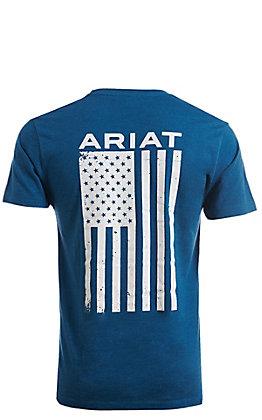 Ariat Men's Freedom Heather Grey Logo Flag Short Sleeve T-Shirt