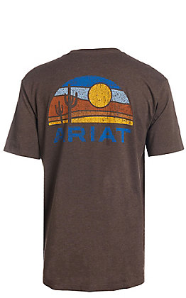 Ariat Men's Brown Heather Sunset Cactus Short Sleeve T-Shirt