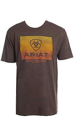 Ariat Men's Brown Heather Gradient Logo Short Sleeve T-Shirt