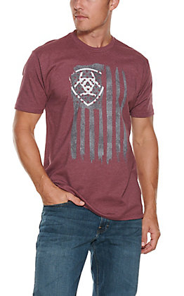 Ariat Men's Burgundy Heather Vertical Flag Short Sleeve T-Shirt