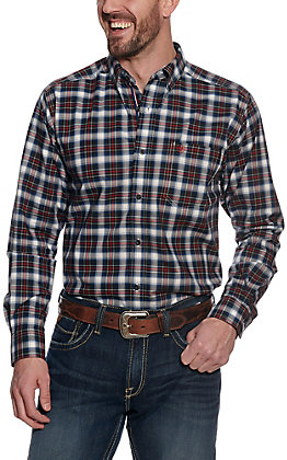 Ariat Men's Black, Red & Blue Plaid Long Sleeve Western Shirt