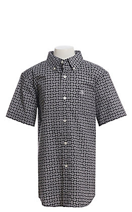 Ariat Cavender's Exclusive Boys' Black With All Over White Medallion Print Short Sleeve Western Shirt