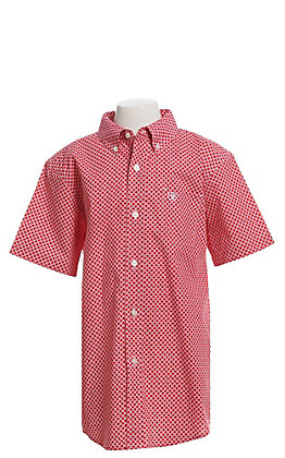 Ariat Cavender's Exclusive Boys' Red & White Diamond Print Short Sleeve Western Shirt