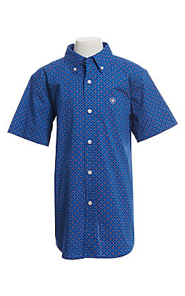 Ariat Cavender's Exclusive Boys' Blue With All Over Red And White Print Short Sleeve Western Shirt