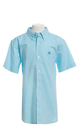 Ariat Cavender's Exclusive Boys' White With All Over Turquoise Medallion Print Short Sleeve Western Shirt