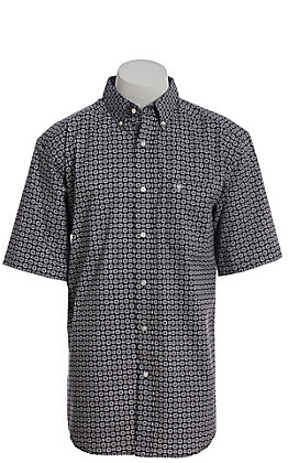 Ariat Cavender's Exclusive Men's Black With All Over White Medallion Print Short Sleeve Western Shirt