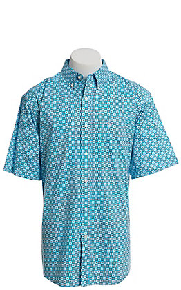 Ariat Cavender's Exclusive Men's Turquoise with Medallion Print Short Sleeve Western Shirt - Big & Tall